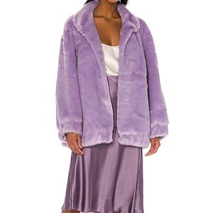 LPA Asher Lavender Fuzzy Faux Fur Jacket Coat M